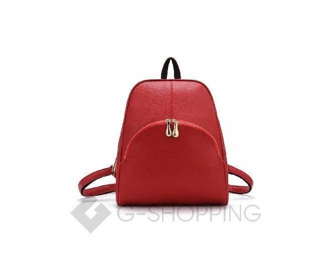 Женский красный рюкзак на молнии, фото 4