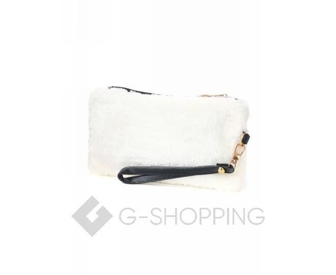 Сумочка-клатч на молнии из искусственного меха белая C145-02 KINGTH GOLDN, фото 5