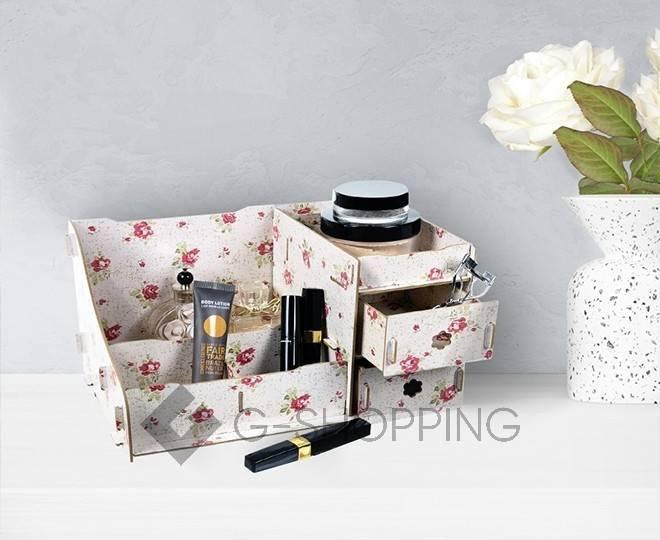 Розовый настольный комод для хранения косметики DIY, фото 5