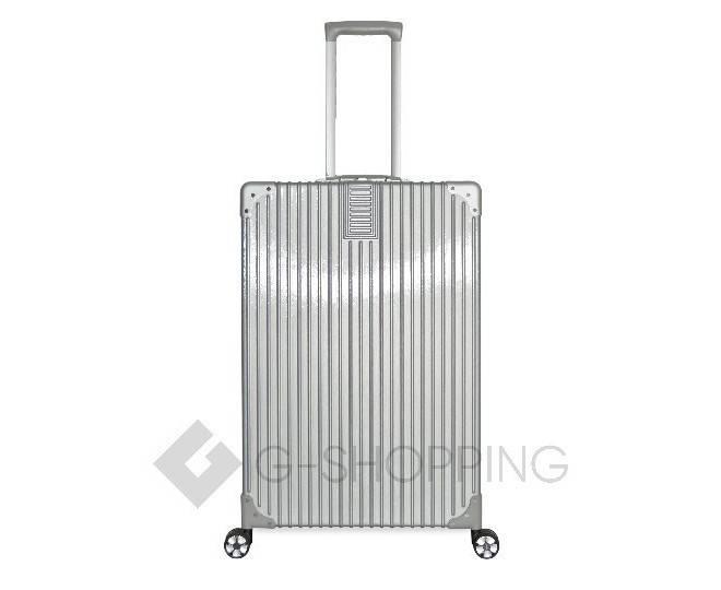 Пластиковый чемодан на колесиках серебристый  DL068 4кг, фото 4