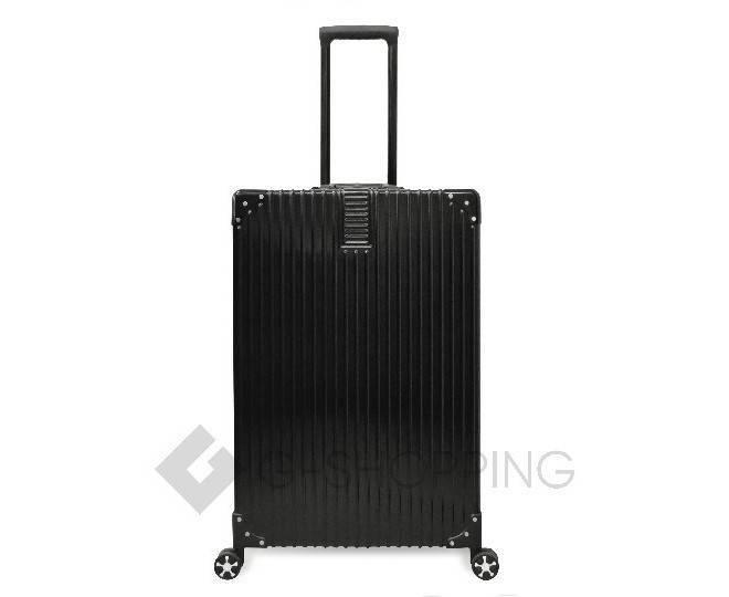 Пластиковый чемодан на колесиках черный, фото 4