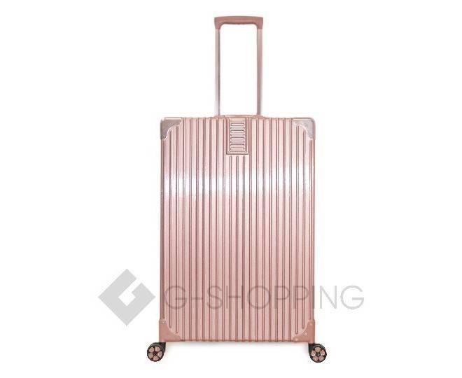 Пластиковый чемодан на колесиках розовый DL068 4кг, фото 4