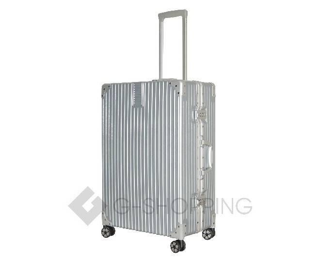 Пластиковый чемодан на колесиках серебристый DL068 4,8кг, фото 4