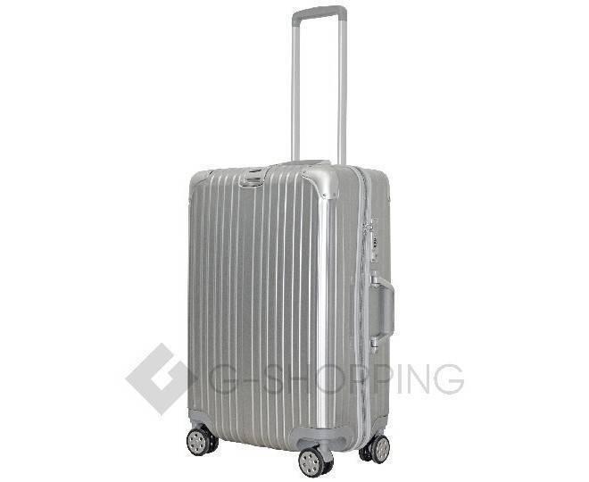 Пластиковый чемодан на колесиках серебристый  DL072 3,8кг, фото 3