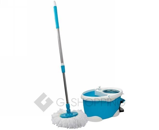 Швабра с ведром и педалью для отжима синяя M12 Touching Nature, фото 1