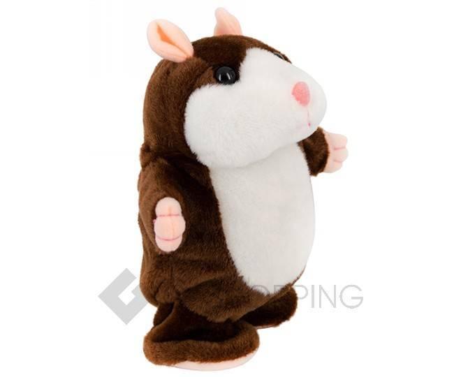 """Детская интерактивная мягкая игрушка """"Говорящий хомячок"""" темно-коричневый 20 см, фото 2"""