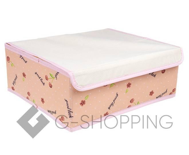 Текстильная коробка для хранения нижнего белья бежевая, фото 1