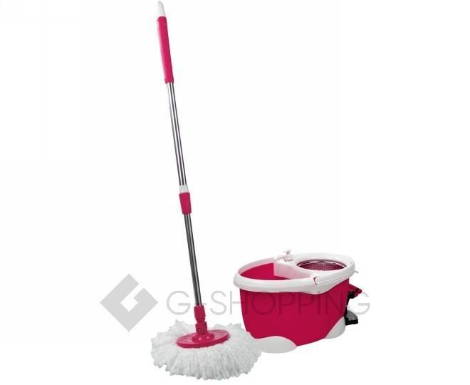 Швабра с ведром и педалью для отжима M12 розовая Touching Nature, фото 1
