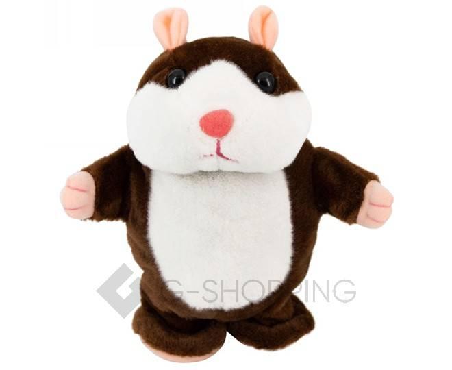 """Детская интерактивная мягкая игрушка """"Говорящий хомячок"""" темно-коричневый 20 см, фото 1"""