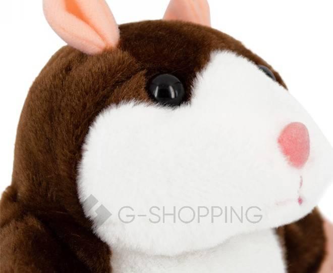 """Детская интерактивная мягкая игрушка """"Говорящий хомячок"""" темно-коричневый 20 см, фото 3"""