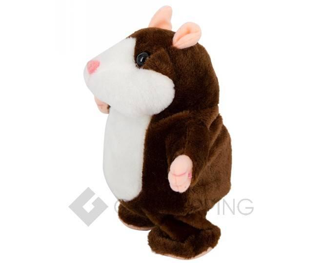 """Детская интерактивная мягкая игрушка """"Говорящий хомячок"""" темно-коричневый 20 см, фото 4"""