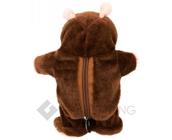 """Детская интерактивная мягкая игрушка """"Говорящий хомячок"""" темно-коричневый 20 см, фото 5"""