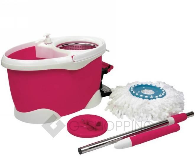 Швабра с ведром и педалью для отжима M12 розовая Touching Nature, фото 7