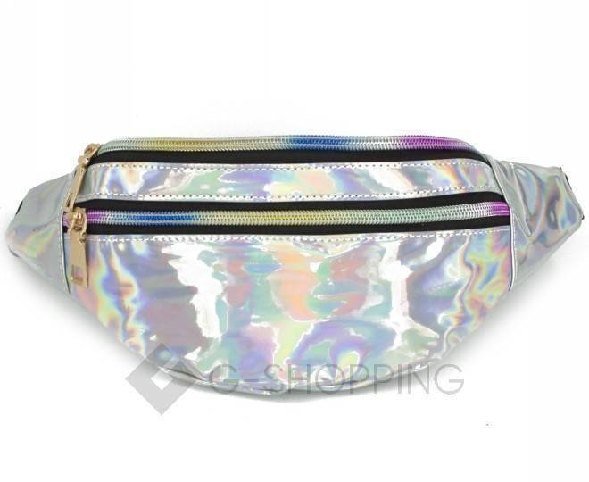 Спортивная поясная сумка из серебристой лакированной экокожи на молнии Kingth Goldn, фото 7