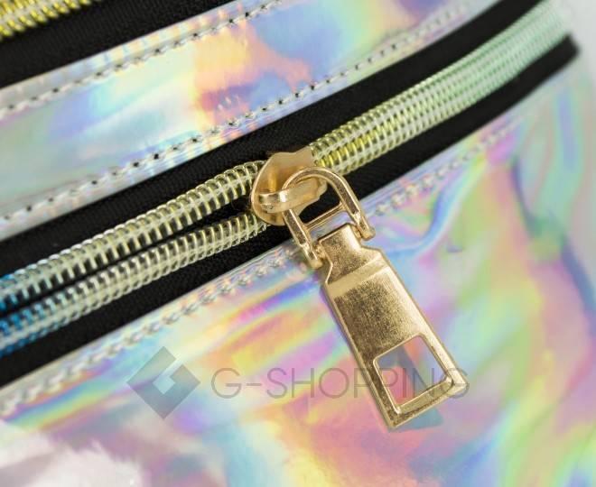 Спортивная поясная сумка из серебристой лакированной экокожи на молнии Kingth Goldn, фото 8