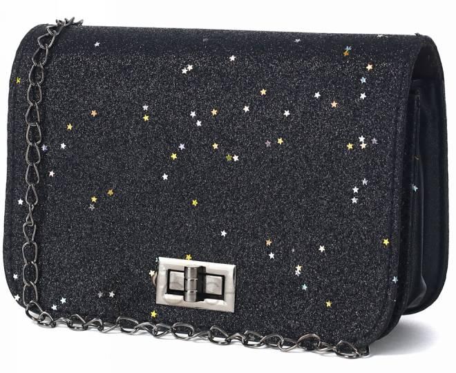 Блестящая сумка кросс-боди чернаяя на длинной цепочке C147-01 KINGTH GOLDN, фото 1