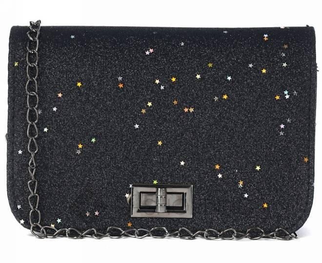 Блестящая сумка кросс-боди чернаяя на длинной цепочке C147-01 KINGTH GOLDN, фото 2