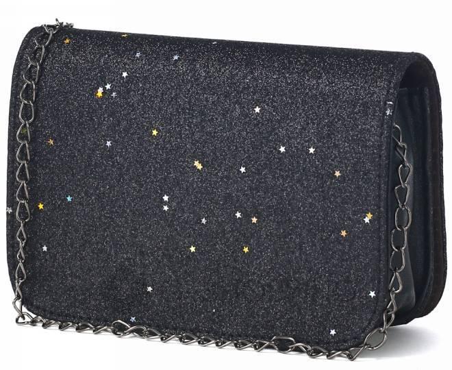 Блестящая сумка кросс-боди чернаяя на длинной цепочке C147-01 KINGTH GOLDN, фото 3