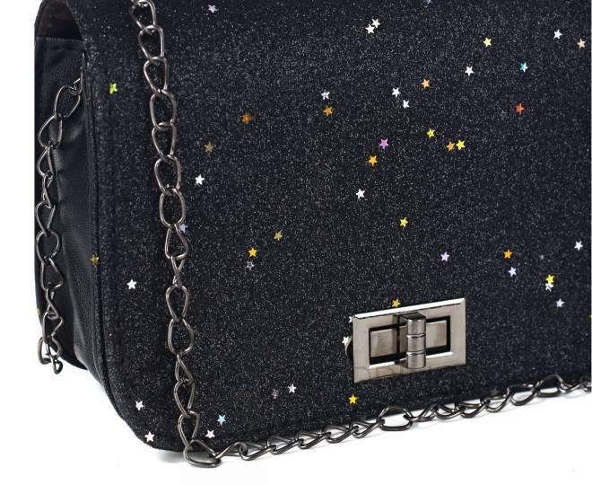 Блестящая сумка кросс-боди чернаяя на длинной цепочке C147-01 KINGTH GOLDN, фото 4