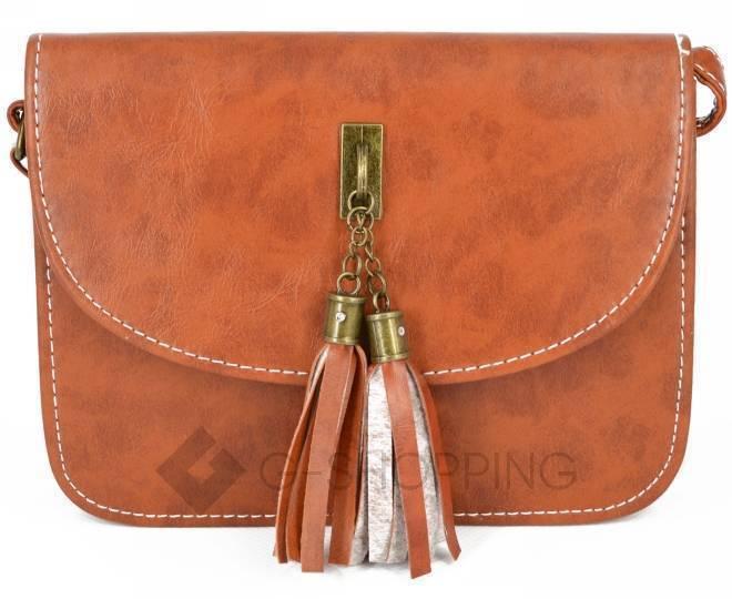 Женская коричневая сумка кросс-боди на молнии c090 Kingth Goldn, фото 5