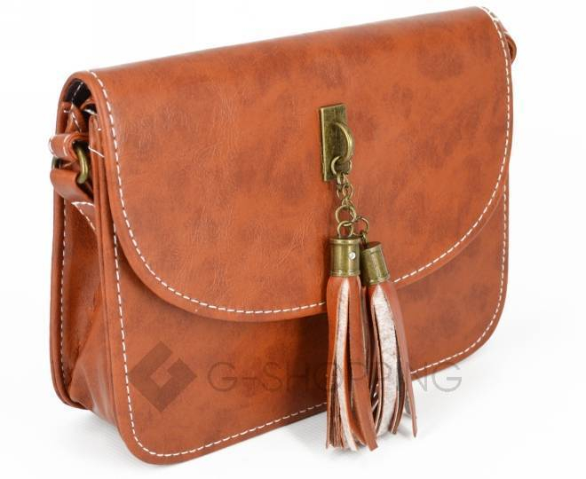 Женская коричневая сумка кросс-боди на молнии c090 Kingth Goldn, фото 6