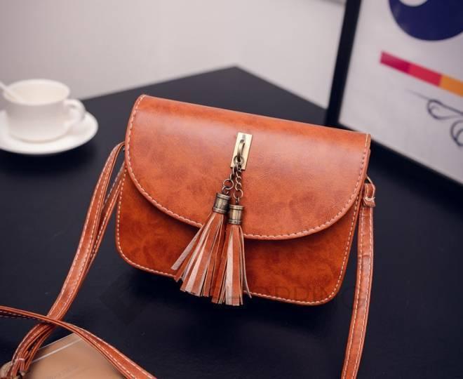 Женская коричневая сумка кросс-боди на молнии c090 Kingth Goldn, фото 4