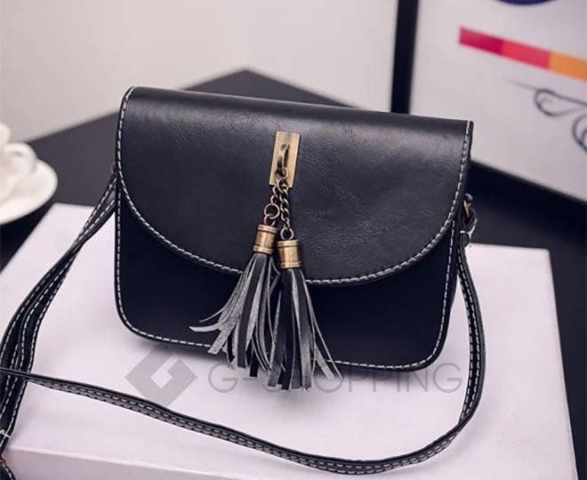 Женская черная сумка кросс-боди на молнии c090 Kingth Goldn, фото 7