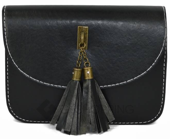 Женская черная сумка кросс-боди на молнии c090 Kingth Goldn, фото 5