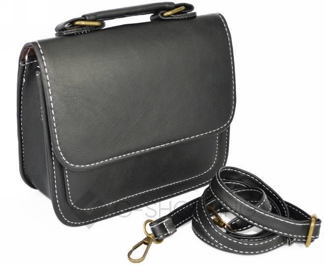 Женская маленькая черная сумка кросс-боди на магнитной застежке c083 Kingth Goldn, фото 6