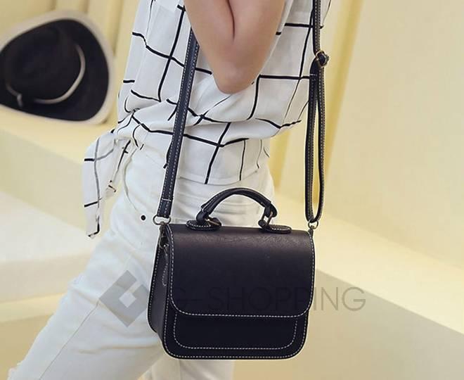 Женская маленькая черная сумка кросс-боди на магнитной застежке c083 Kingth Goldn, фото 10