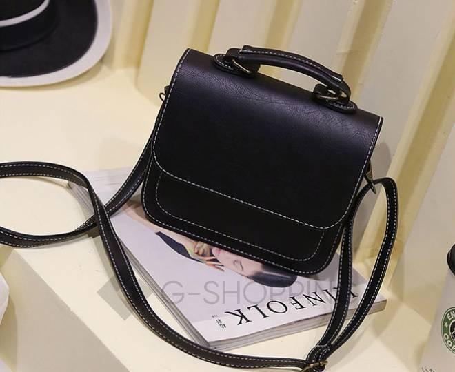 Женская маленькая черная сумка кросс-боди на магнитной застежке c083 Kingth Goldn, фото 11