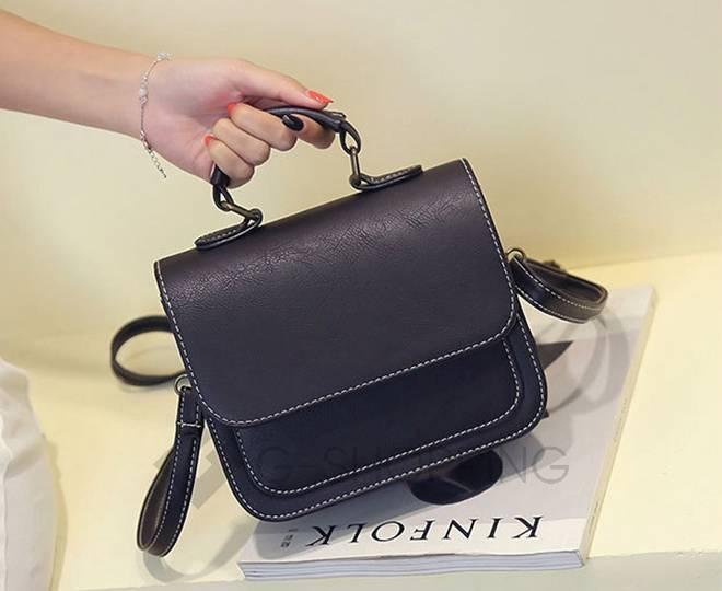 Женская маленькая черная сумка кросс-боди на магнитной застежке c083 Kingth Goldn, фото 12