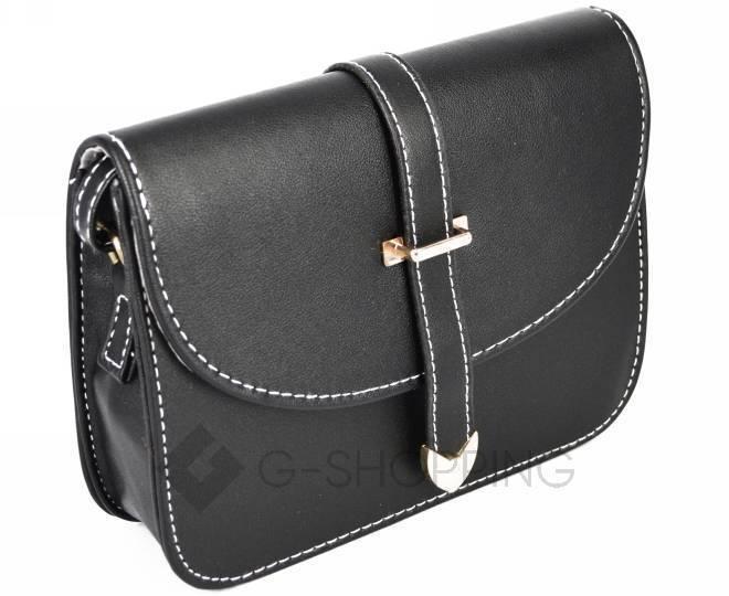 Женская черная сумка кросс-боди на молнии c092 Kingth Goldn, фото 3