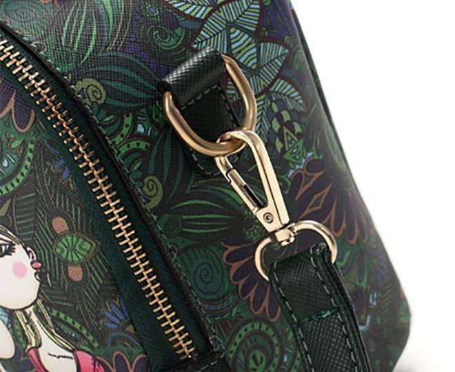 Женская зеленая сумка на молнии с ярким принтом Kingth Goldn, фото 10