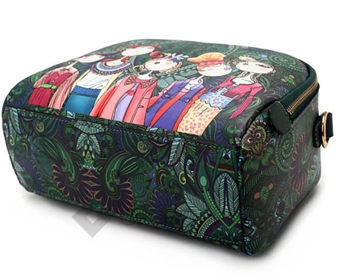 Женская зеленая сумка на молнии с ярким принтом Kingth Goldn, фото 11