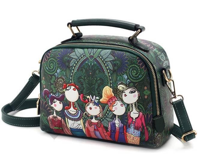 Женская зеленая сумка на молнии с ярким принтом Kingth Goldn, фото 1