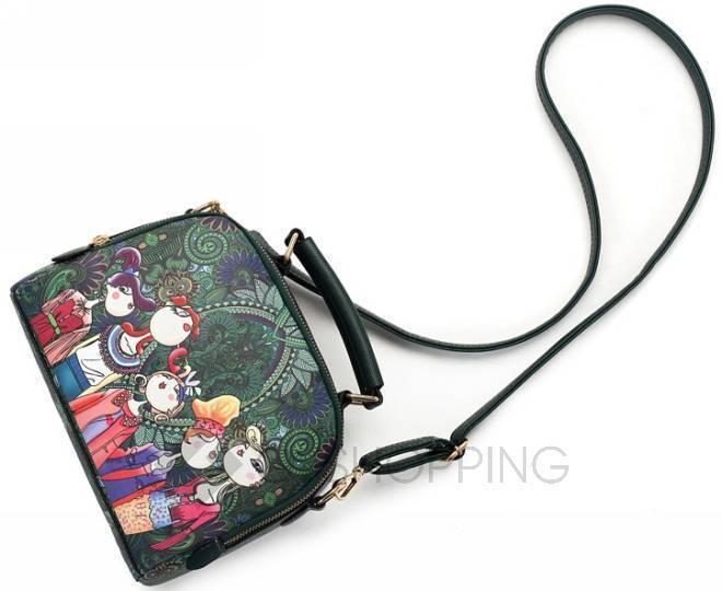 Женская зеленая сумка на молнии с ярким принтом Kingth Goldn, фото 6