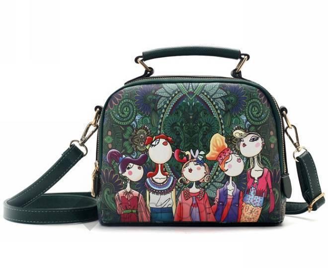 Женская зеленая сумка на молнии с ярким принтом Kingth Goldn, фото 8