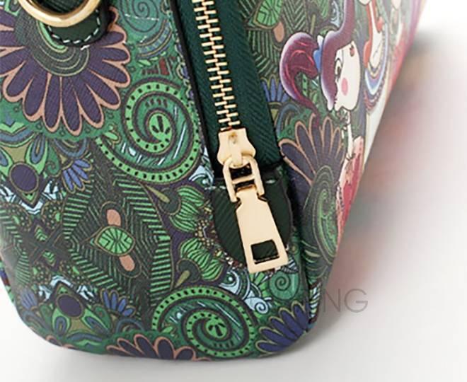 Женская зеленая сумка на молнии с ярким принтом Kingth Goldn, фото 2