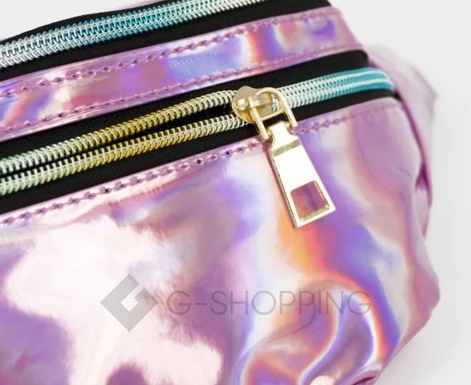 Поясная сумка из лакированной экокожи на молнии розовая Kingth Goldn, фото 7
