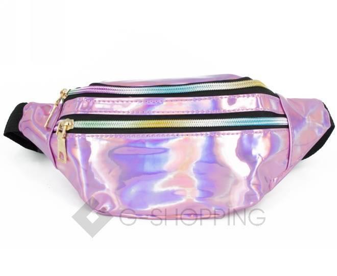 Поясная сумка из лакированной экокожи на молнии розовая Kingth Goldn, фото 8