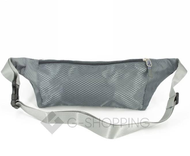 Текстильная поясная сумка на молнии серая C185-23 Kingth Goldn, фото 3