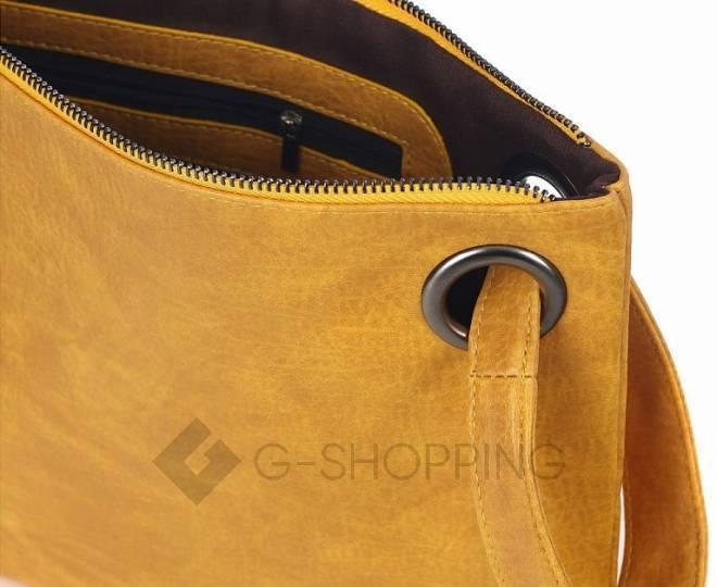 Стильный женский клатч-конверт коричневый C102-18 KINGTH GOLDN, фото 7