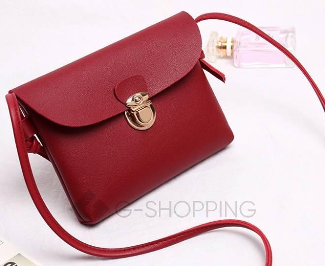 Женская маленькая красная сумка кросс-боди с портфельной застежкой C106-08, фото 5