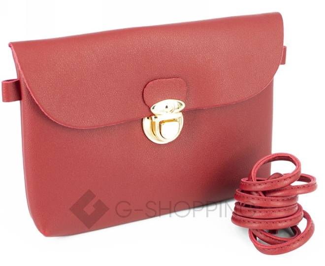 Женская маленькая красная сумка кросс-боди с портфельной застежкой C106-08, фото 6