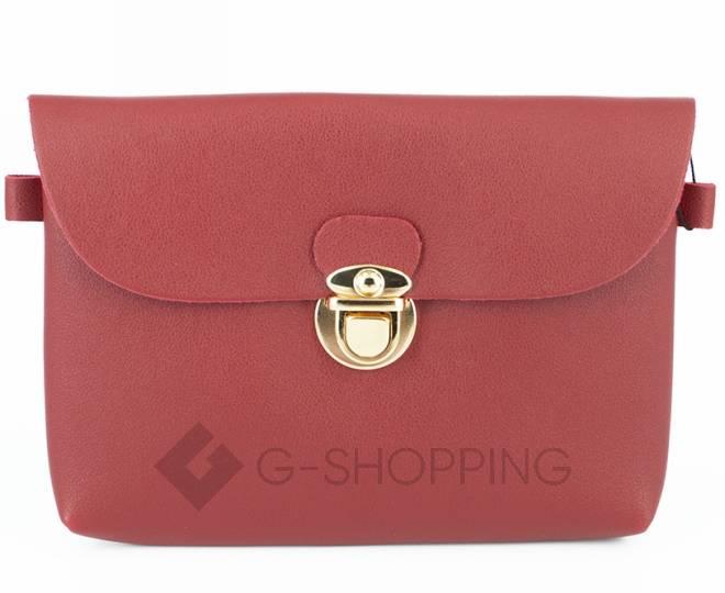 Женская маленькая красная сумка кросс-боди с портфельной застежкой C106-08, фото 7