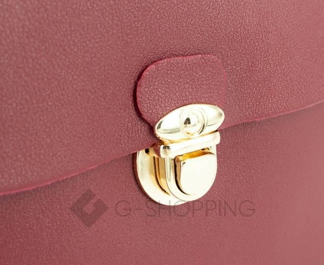 Женская маленькая красная сумка кросс-боди с портфельной застежкой C106-08, фото 8