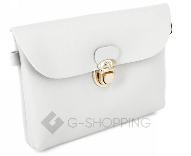 Женская маленькая серая сумка кросс-боди с портфельной застежкой C106-23, фото 4