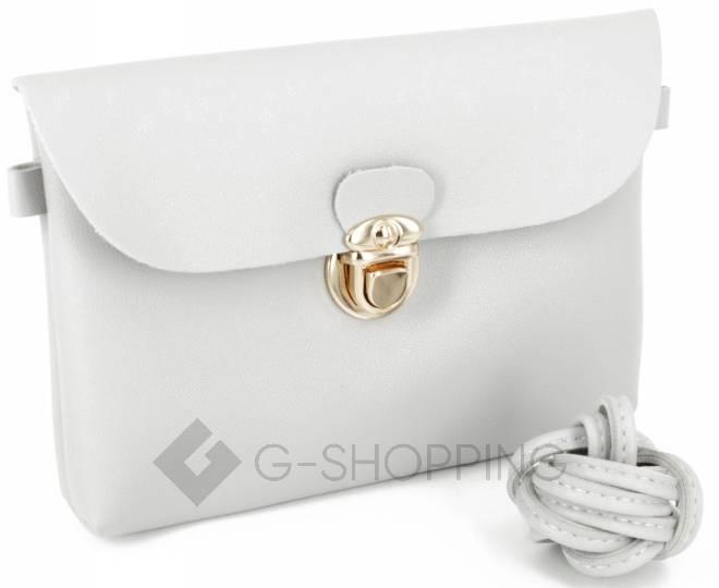 Женская маленькая серая сумка кросс-боди с портфельной застежкой C106-23, фото 10