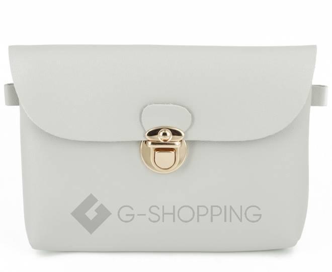 Женская маленькая серая сумка кросс-боди с портфельной застежкой C106-23, фото 5
